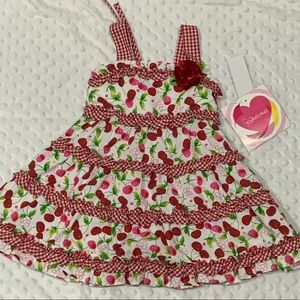NWT! Youngland Cherry Gingham Ruffled Sundress: 2T